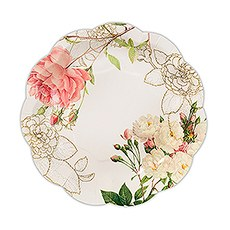 Pink Rose Floral Print Paper Plates