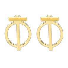 Geometric Ear Jacket Earrings - Gold