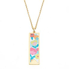 Gold Rectangular Pendant Necklace – Floral Print