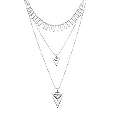 Layered Silver Choker Necklace – Convertible Modern Triangular Design
