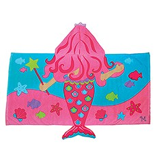 Personalized Hooded Bath Towel for Kids- Mermaid