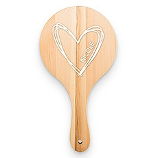 Wooden Hand Mirror - Personalized Heart