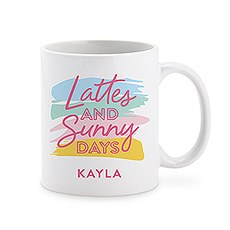 Custom White Ceramic Coffee Mug – Lattes and Sunny Days Print