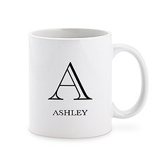 Custom White Ceramic Coffee Mug – Classic Monogram Print