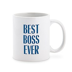 Custom White Ceramic Coffee Mug - Best Boss Ever Masculine Print