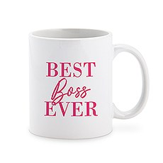 Custom White Ceramic Coffee Mug – Best Boss Ever Feminine Print