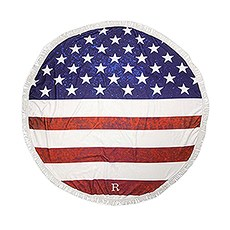 Personalized Round Beach Towel – American Flag Pattern