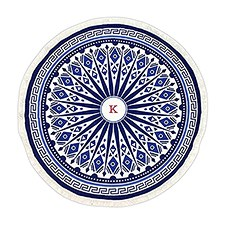 Tribal Print Round Beach Towel - Blue And White