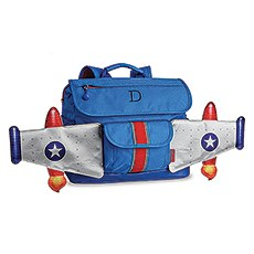 Small Personalized Kids Backpack - Blue Rocket