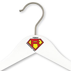 Personalized Wooden Ring Bearer Wedding Clothes Hanger- Super Hero