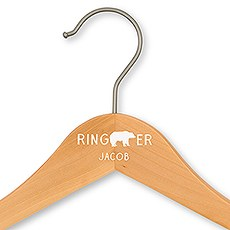 Personalized Wooden Ring Bearer Wedding Clothes Hanger- Bear Print