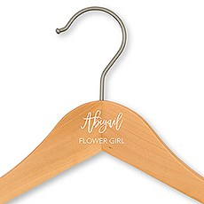 Personalized Wooden Flower Girl Wedding Clothes Hanger- Script