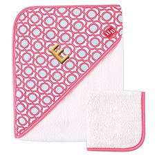 Woven Hooded Towel And Washcloth Set - Pink