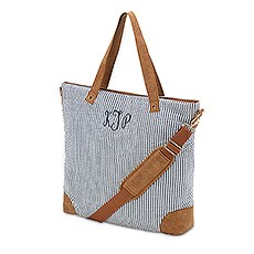 Large Personalized Cotton Fabric Tote Bag with Faux Leather Trim- Navy & White Stripe