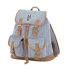 Large Personalized Cotton Fabric Backpack with Faux Leather Trim- Navy & White Stripe
