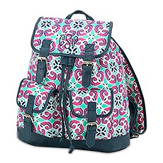 Large Personalized Polyester Fabric Backpack with Faux Leather Trim- Kaleidoscope