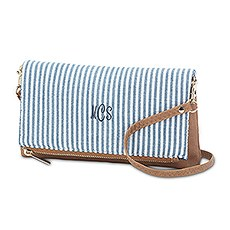 Small Personalized Cotton Fabric Clutch Purse with Faux Leather Trim- Blue and White Stripe