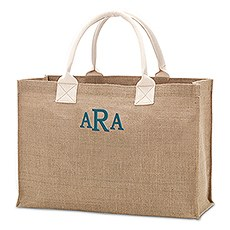 Large Personalized Reusable Fabric Beach Tote Bag- Burlap