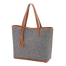 Women's Large Knit Fabric Tote Bag with Faux Leather Accents- Grey