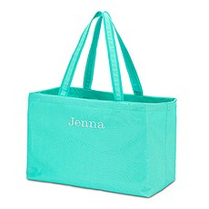 Extra Large Personalized Nylon Fabric Beach Tote Bag- Turquoise