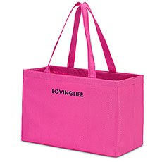 Extra Large Personalized Nylon Fabric Beach Tote Bag- Magenta Pink