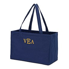 Extra Large Personalized Nylon Fabric Beach Tote Bag- Navy