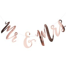 Mr and Mrs Wedding Banner - Rose Gold Metallic