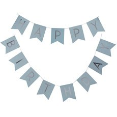 Happy Birthday Banner - Blue Pastel