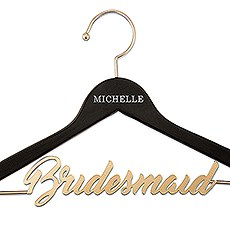 Personalized Wooden Wedding Clothes Hanger- Metal Bridesmaid Wire