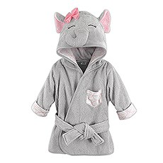 Animal Face Hooded Bathrobe - Grey Elephant