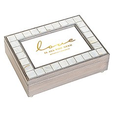 Large Personalized Luxury Pearl Music Box – Gold Love is All You Need Foil Print