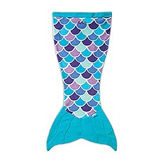 Kids Mermaid Tail Blanket - Aqua Blue