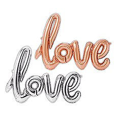 Mylar Foil Letter Balloon Decoration - Cursive Love