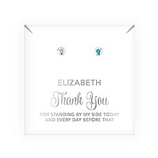 Swarovski Crystal or Pearl Stud Earrings - Thank You Script
