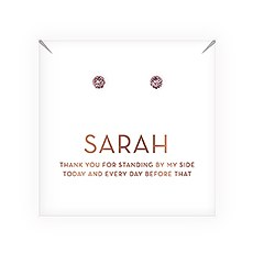 Swarovski Crystal Round Stud Earrings - Thank You