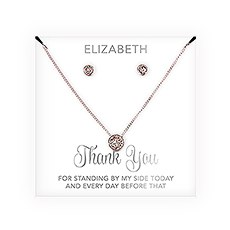 Personalized Bridal Party Crystal Jewelry Gift Set – Thank You Cursive Font