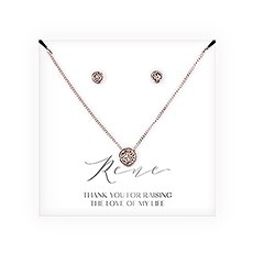 Swarovski Crystal Earring & Solitaire Necklace Set - Mother-In-Law Thank You