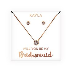 Swarovski Crystal Earring & Solitaire Necklace Set - Be My Bridesmaid?
