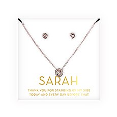 Personalized Bridal Party Crystal Jewelry Gift Set – Thank You