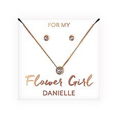 Swarovski Crystal Earring & Solitaire Necklace Set - Flower Girl