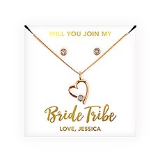 Swarovski Crystal Earring & Heart Necklace Set - Bride Tribe Bridesmaid Proposal