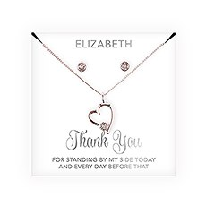 Personalized Bridal Party Heart & Crystal Jewelry Gift Set – Thank You Cursive Font