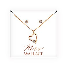 Swarovski Crystal Earring & Heart Necklace Set - Mrs.