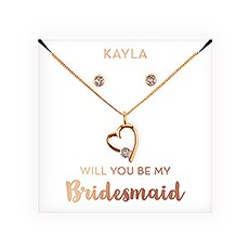 Personalized Bridal Party Heart & Crystal Jewelry Gift Set - Be My Bridesmaid?