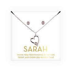 Personalized Bridal Party Heart & Crystal Jewelry Gift Set - Thank You