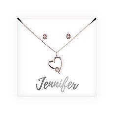 Personalized Bridal Party Heart & Crystal Jewelry Gift Set – Cursive Font