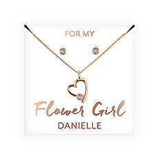 Personalized Bridal Party Heart & Crystal Jewelry Gift Set – Flower Girl