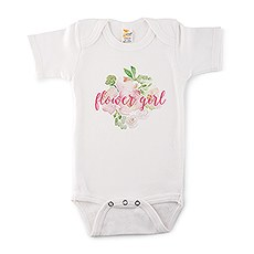 Cute Personalized White Baby Bodysuit - Flower Girl