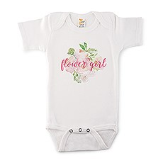Cute Personalized White Baby Onesie - Flower Girl