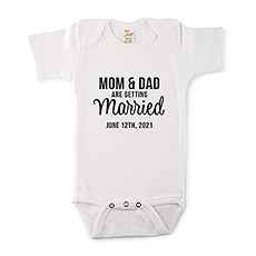 Cute Personalized White Baby Onesie - Getting Married
